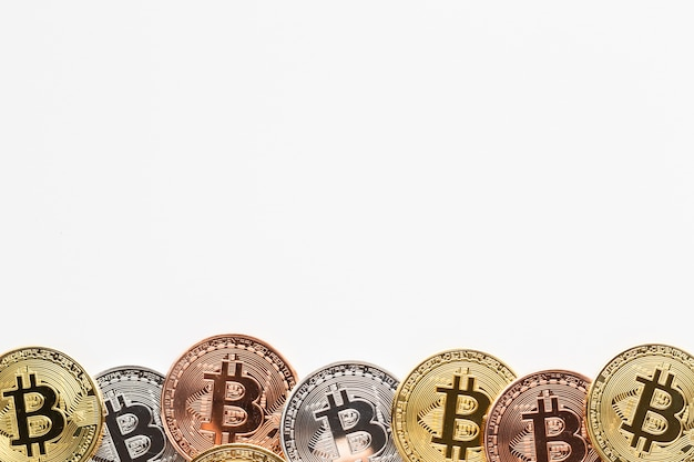Bitcoin in various colors frame
