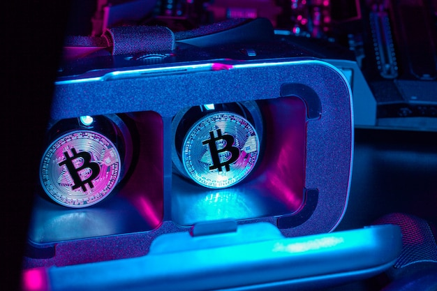 Bitcoin in virtual reality device vr