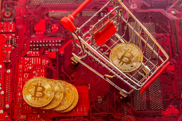 Bitcoin with circuit board microchips, virtual cryptocurrency, mining golden,  blockchain technology.