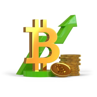 Bitcoin with graph upward digital currency profit 3d rendering illustration