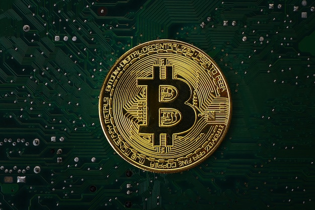 コンピューターのマザーボード上のbitcoin