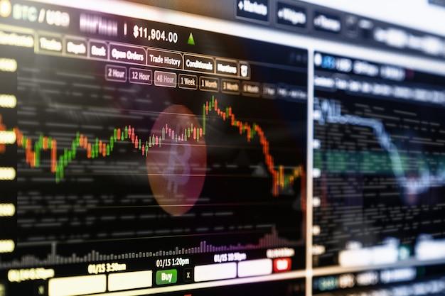 暗号化取引画面、取引情報のbitcoin交換画面、ブロックチェーン技術