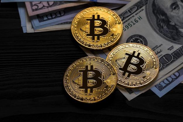 私たちに金bitcoinコインドルをクローズアップ。電子暗号通貨