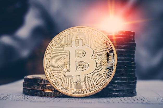 ビットコイン事業投資コンセプト貿易株式市場の収入高リスク高収益、マーケティング絶好の機会