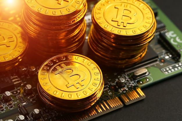 Bitcoins on circuit board