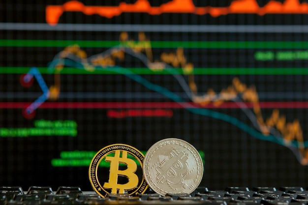Bitcoins on keyboard close up