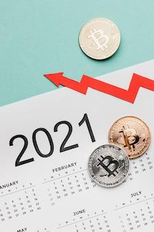 2021年のカレンダーの品揃えのビットコイン