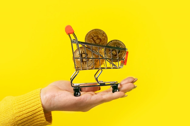 Bitcoins in shopping cart