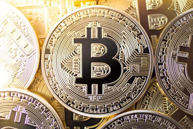 Bitcoins top view