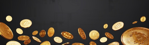 Bitcoins on various digital background, cryptocurrency and blockchain technology concept.