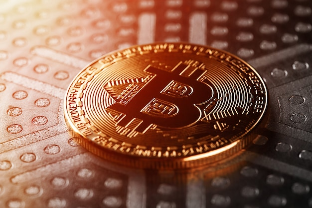 Bitcoins virtual money. concept worldwide cryptocurrency.