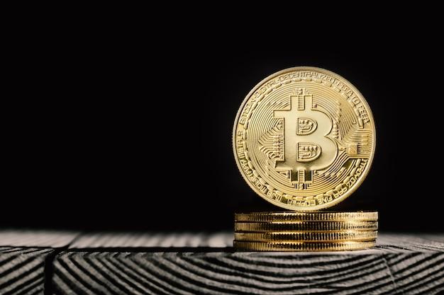 Bitcoins on wooden planks
