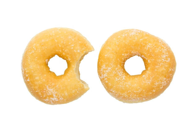 Bite mark on homemade donut with clipping path
