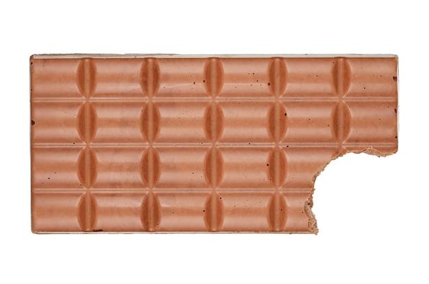Bitten chocolate bar isolated