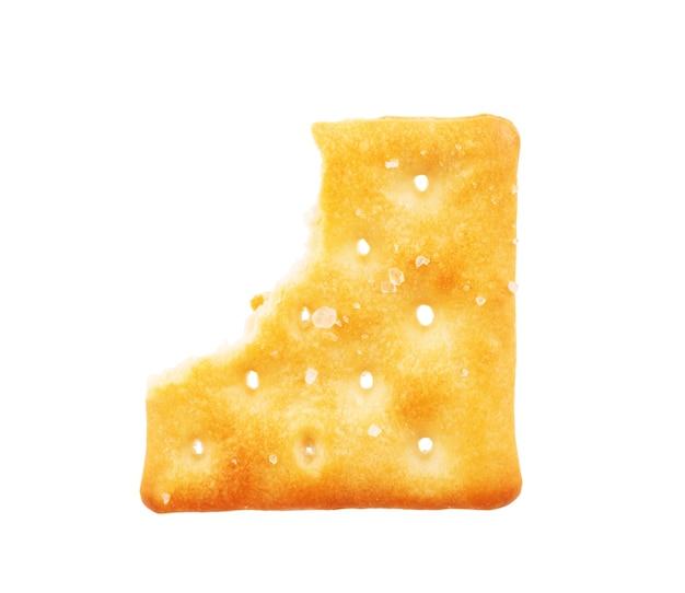 Bitten cracker on a white background