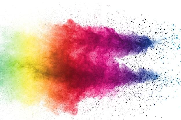 白い背景に色の爆発の奇妙な形。