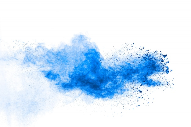 Bizarre forms of blue powder explode cloud on white background.
