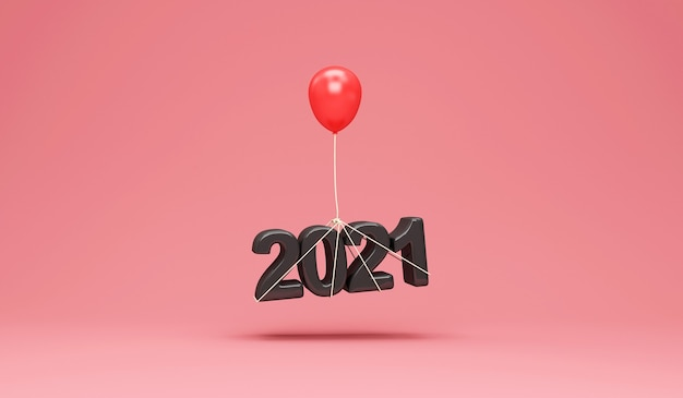 ピンクのスタジオの背景に赤い風船と黒の2021年新年のシンボル