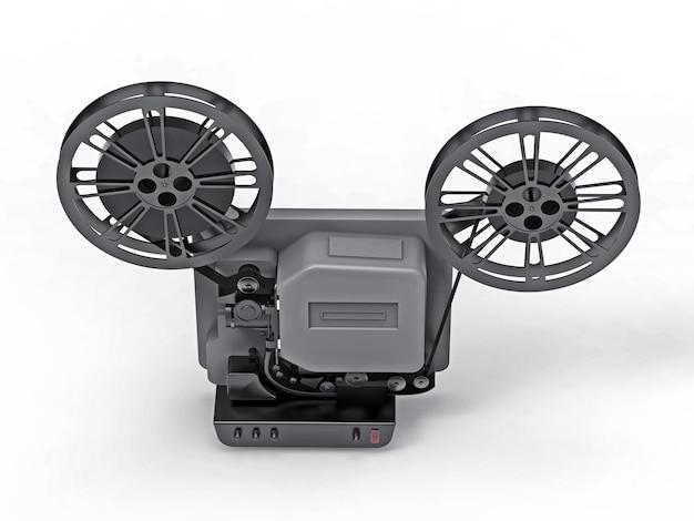Черный кинопроектор 3d кино изолированный на белой предпосылке. 3d-рендеринг.