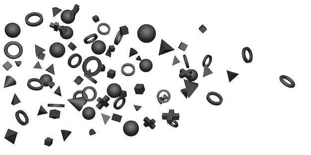 白い背景の上の黒い3d幾何学的形状3dイラスト