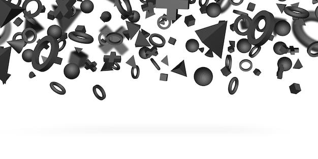 Black 3d geometric shape on white background 3d illustration