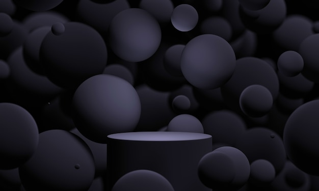 검은색 3d는 날아다니는 구체나 공으로 연단을 조롱합니다. 제품 또는 화장품 프레젠테이션을 위한 어둡고 세련된 현대적인 추상 현대 플랫폼입니다.