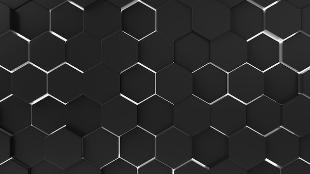 Black abstract background hexagon pattern with light rays.