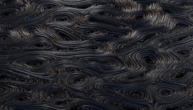 Черный абстрактный фон из скрученных волокон с ярким пятном. 3d визуализация.