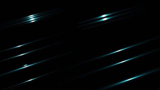 Black abstract background with blue streak light. 3d render.