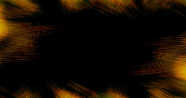 Black abstract background with yellow swirling lines with copy space.