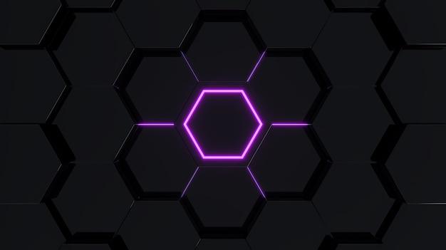 紫色の光の3dレンダリングと黒の抽象的な未来的な六角形のシーン