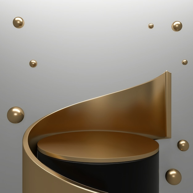 Black abstract and podium geometric for product presentation. 3d rendering