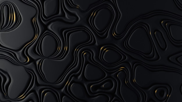Black abstract surface with irregular shapes