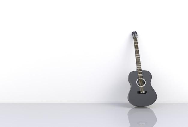 Black acoustic guitar in a empty room, 3d rendering