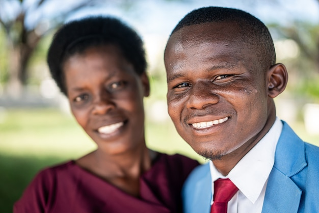 Black african man and woman portrait with love