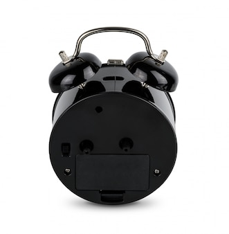 Black alarm clock, analog twin bell isolated on  white