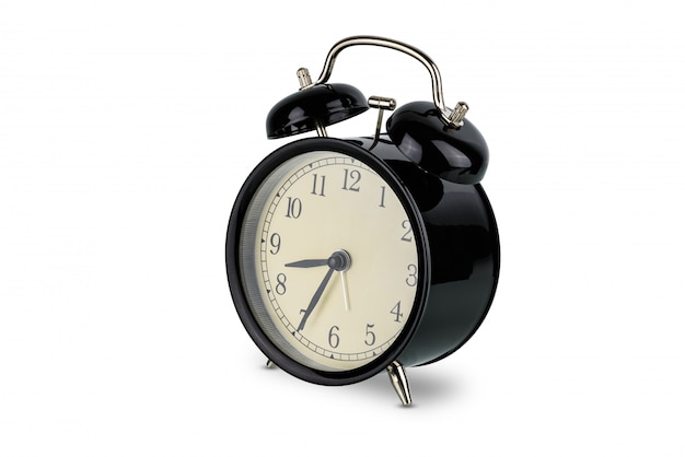 Black alarm clock, analog twin bell isolated