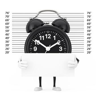 경찰 라인업 또는 mugshot 배경 극단적인 근접 촬영 앞에 식별 플레이트가 있는 검은색 알람 시계 캐릭터 마스코트. 3d 렌더링