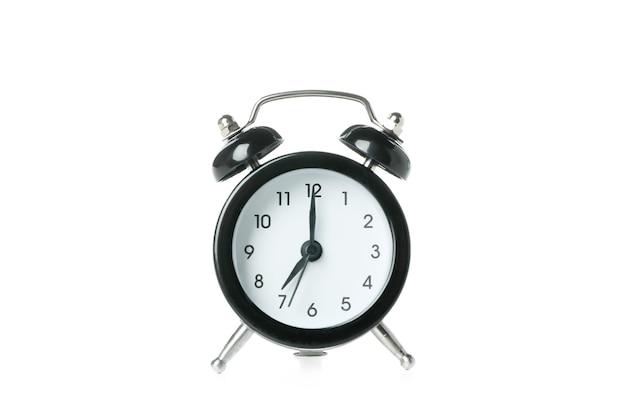 흰색 배경에 고립 된 블랙 알람 시계