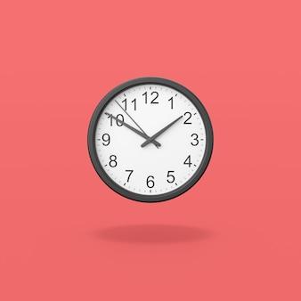 Black analog clock on red background