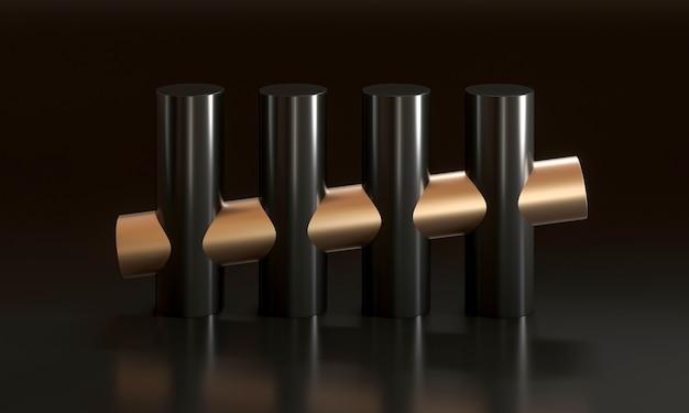 黒と金のシリンダー、最小限の抽象的な幾何学的な背景。