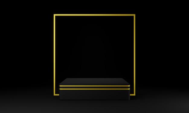 검정색과 금색 기하학적 연단. 어두운 배경. 3d 그림.