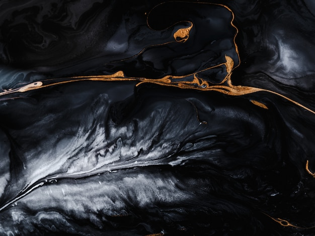 Черно-золотой мраморный эффект