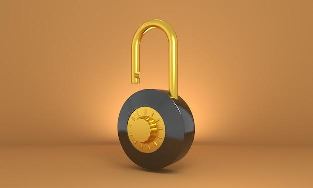 Черный и золотой открытый замок в роскошном стиле разблокируйте разблокированную концепцию безопасного доступа