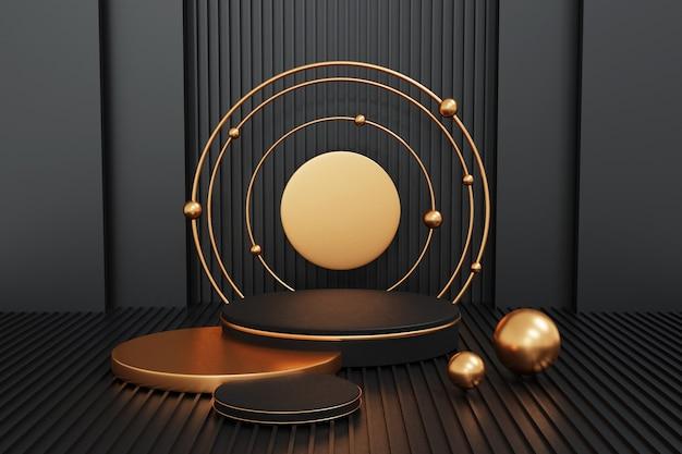 黒の背景に黒と金の表彰台、ディスプレイ製品の幾何学表彰台の形、3dレンダリング。