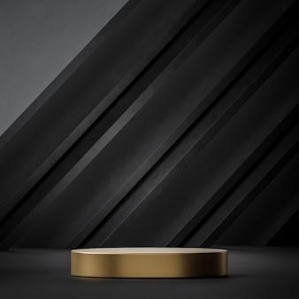 검은색과 금색 연단 무대 스탠드 검은 금요일 판매 테마 3d 렌더링