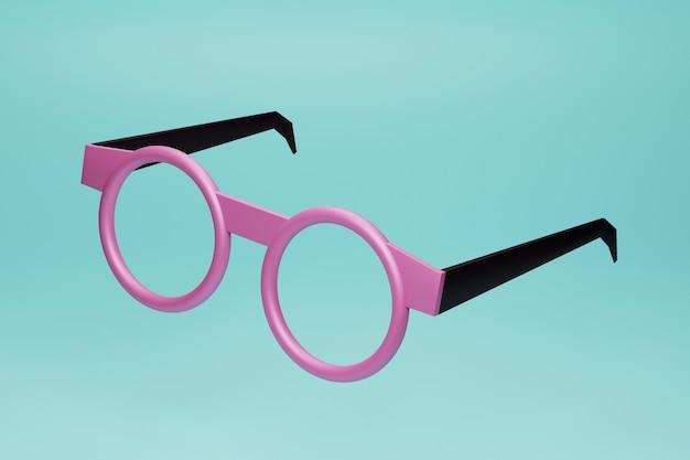 검정과 분홍색 둥근 안경 3d 렌더링