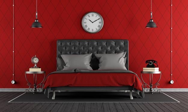 黒と赤の古典的な寝室