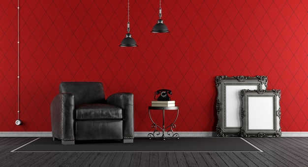 黒と赤のクラシックなリビングルーム