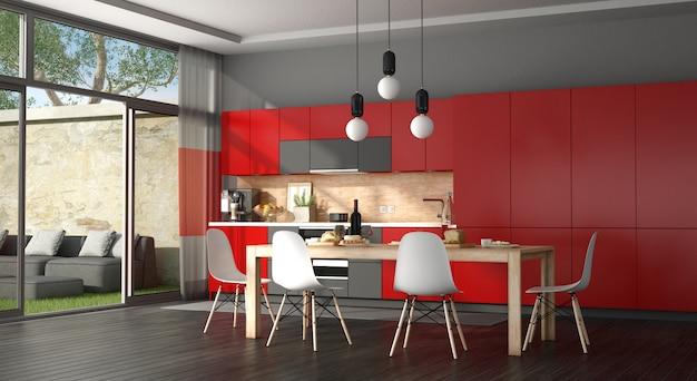 黒と赤のモダンなキッチン